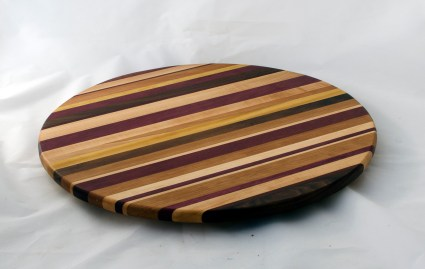 "Lazy Susan 16 - 026. Chaos board. Black Walnut, Hard Maple, Purpleheart, Cherry, Yellowheart & Jatoba. 17"" diameter."