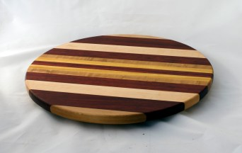 "Lazy Susan 16 - 027. Cherry, Padauk, Hard Maple & Yellowheart. 17"" diameter."