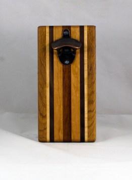 Magic Bottle Opener 16 - 140. Red Oak, Hard Maple, Black Walnut, Cherry & Jatoba. Double Magic.