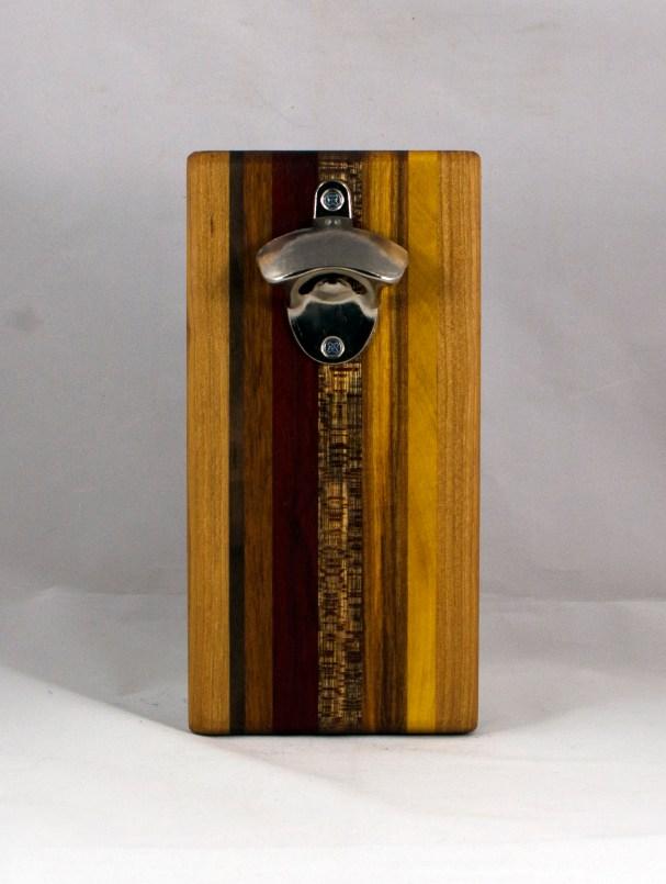 Magic Bottle Opener 16 - 147. Cherry, Black Walnut, Jatoba, Padauk, Burmese Teak, Canarywood & Yellowheart. Double Magic.