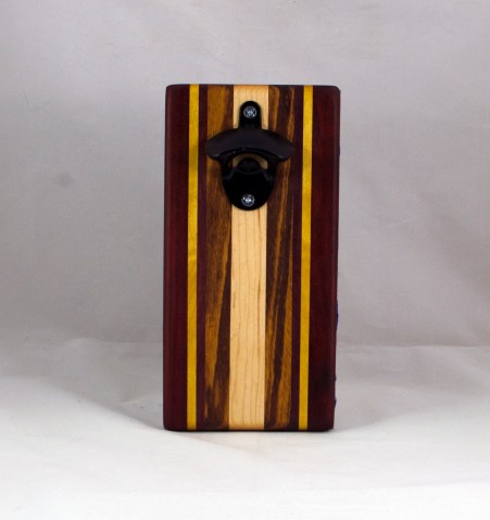 Magic Bottle Opener 16 - 152. Padauk, Yellowheart, Goncalo Alves & Hard Maple. Double Magic.