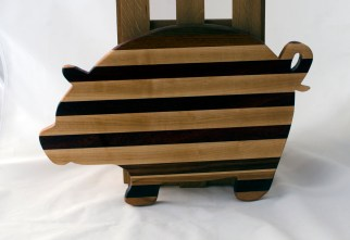 "Pig 16 - 07. Hard Maple, Black Walnut, Canarywood, Jatoba & Padauk, . 12"" x 19"" x 1-1/8""."