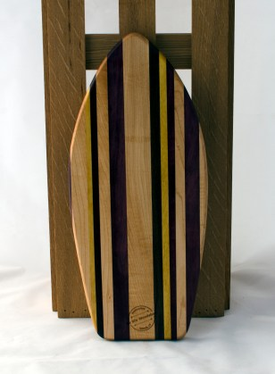 "Small Surfboard 16 - 16. Hard Maple, Black Walnut, Yellowheart, Padauk & Purpleheart. 6"" x 16"" x 3/4""."