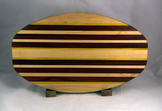 "Cheese & Cracker Server 16 - 15. Hard Maple, Yellowheart & Padauk. 12"" x 19"" x 1-1/4""."