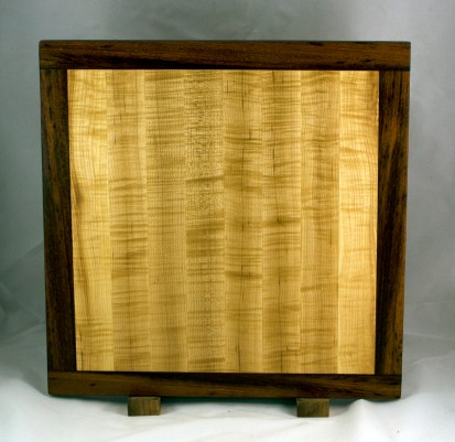 """Cutting Board 16 - Edge 021. Jatoba & Quilted Hard Maple. Bread Board Ends, Edge Grain. Replacement in-sink board for a Kohler sink. Commissioned Piece. 16"""" x 16"""" x 3/4""""."""