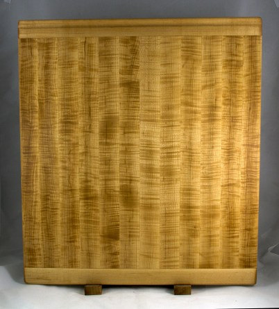 """Cutting Board 16 - Edge 023. Quilted Hard Maple. Bread Board Ends, Edge Grain. Commissioned Piece. 22"""" x 24"""" x 7/8""""."""
