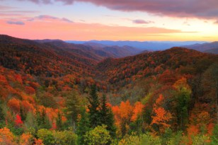 A rolling carpet of autumn color covers the landscape of Great Smoky Mountains National Park on the North Carolina and Tennessee border. From mountaintop to valley bottom, the gorgeous colors of nature are calling you to explore this amazing place. Photo by Gary Fua. Posted on Tumblr by the US Department of the Interior, 11/3/16.