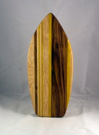 Medium Surfboard 16 - 10. Birdseye Maple, Black Walnut & Yellowheart.