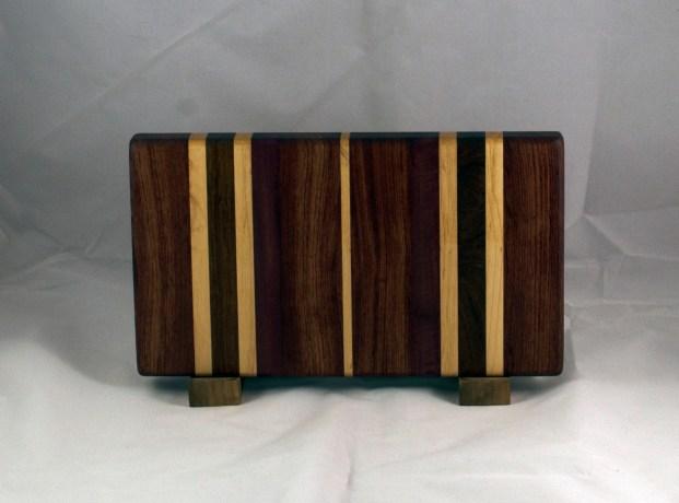 "Small Board 16 - 033. Bubinga, Hard Maple, Purpleheart, Jatoba & Bloodwood. Edge Grain. 7"" x 13"" x 1-1/4""."