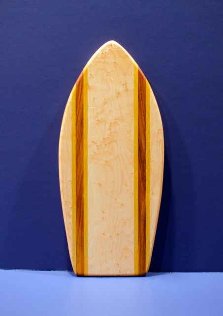 "Small Surfboard 16 - 20. Birdseye Maple, Yellowheart & Canarywood. 7"" x 16"" x 3/4""."