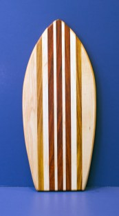"Small Surfboard 16 - 21. Hard Maple, Canarywood & Jatoba. 7"" x 16"" x 3/4""."