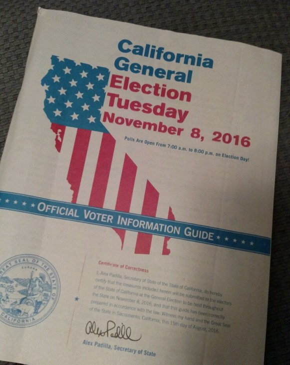 Long explanations of every ballot initiative are in this 200+ page missive that was sent to our home.