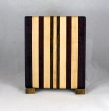 "Cheese Board 16 - 066. Jatoba, Purpleheart, Bloodwood & Hard Maple. 8"" x 11"" x 3/4""."