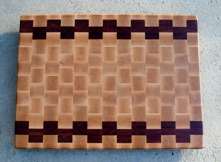 "Cutting Board 16 - End 052. Hard Maple & Jatoba. End Grain. 16"" x 21"" x 1-1/2"". Commissioned Piece."