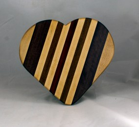 "Heart 16 - 04. Hard Maple, Purpleheart, Jatoba & Bloodwood. 11"" x 12"" x 3/4""."