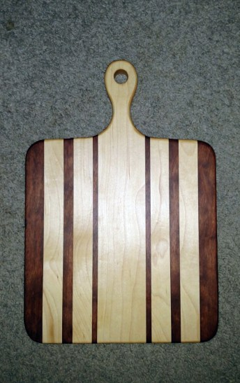 "Small Sous Chef 16 - 025. Bloodwood & Hard Maple. 9"" x 16"" x 3/4""."