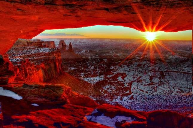 A gorgeous sunrise at Canyonlands National Park in Utah. Photo by Greg Sager. Posted on Tumblr by the US Department of the Interior, 1/1/17.