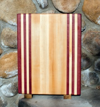 "Cutting Board 17 - 103. Edge Grain. Purpleheart & Hard Maple. 12"" x 16"" x 1-1/4""."