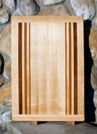 "Cutting Board 17 - 105. Jatoba & Hard Maple. Edge Grain with Bread Board Ends. In-counter replacement, commissioned piece. 16"" x 23"" x 3/4""."