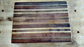 This is Velda's board, which is now 4 years old. It was among the first cutting boards that I made.