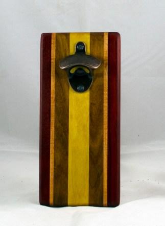 Magic Bottle Opener 17 - 607. Padauk, Honey Locust, Canarywood & Yellowheart. Single Magic.