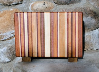 "Small Board 17 - 204. Chaos Board. Jatoba, Hard Maple, Cherry, Black Walnut & Purpleheart. 8"" x 12"" x 1-1/4""."