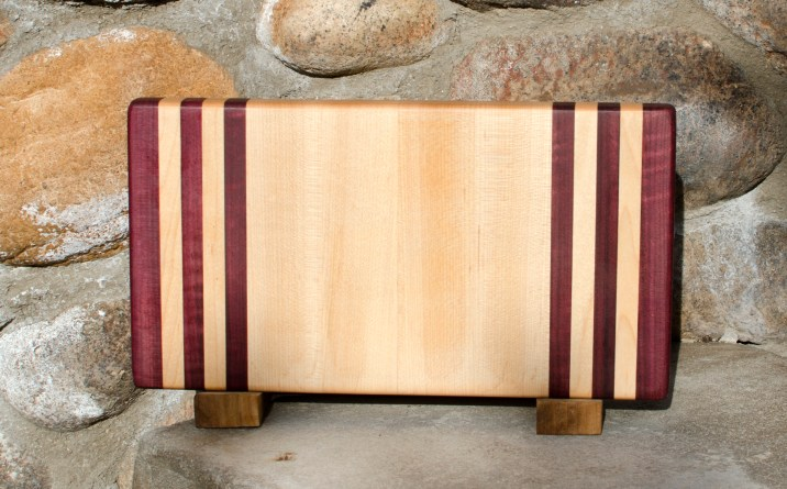 "Small Board 17 - 207. Purpleheart & Hard Maple. 8"" x 12"" x 1-1/4""."