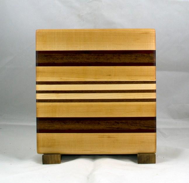 "Small Board 17 - 209. Hard Maple, Purpleheart & Jatoba. 10-1/2"" x 10"" x 3/4""."
