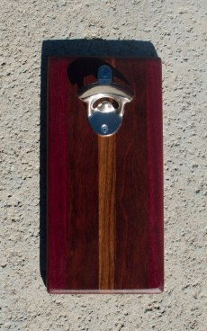 Magic Bottle Opener 17 - 620. Purpleheart, Bubinga & Caribbean Rosewood. Double Magic.