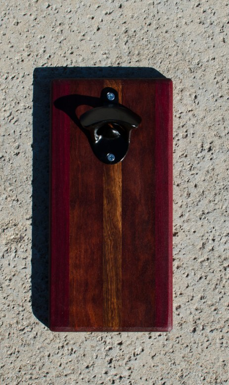 Magic Bottle Opener 17 - 621. Purpleheart, Bubinga & Caribbean Rosewood. Double Magic.