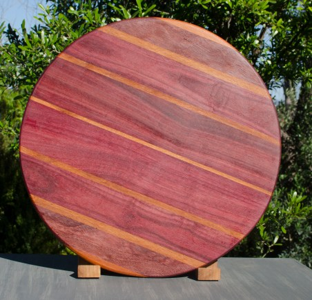 "Lazy Susan 17 - 02. Purpleheart & Goncalo Alves. 18"" diameter."