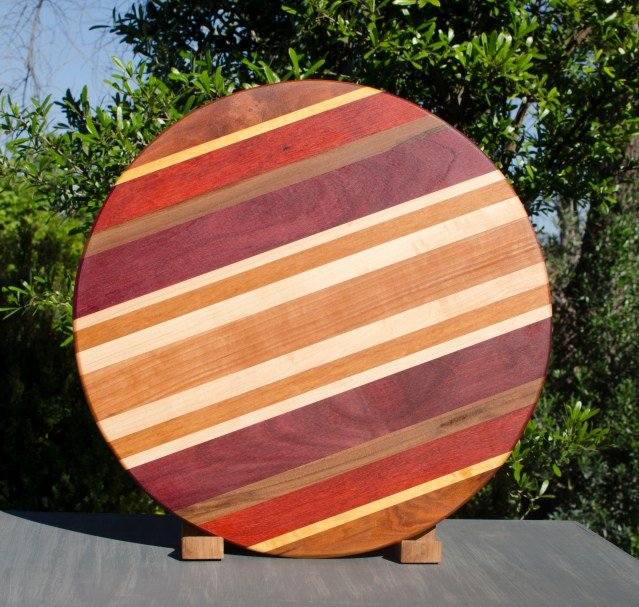 "Lazy Susan 17 - 07. Cherry, Yellowheart, Padauk, Black Walnut, Purpleheart & Hard Maple. 18"" diameter."