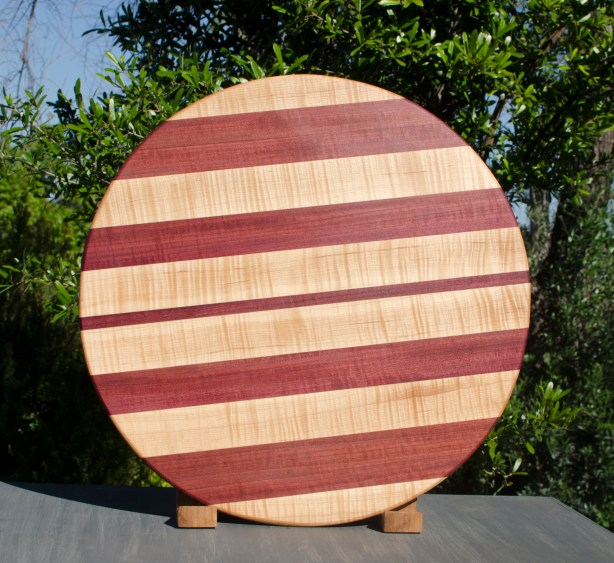 """Lazy Susan 17 - 08. Quilted Hard Maple & Purpleheart. 18"""" diameter."""