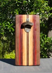 Magic Bottle Opener 17 - 625. Black Walnut, Paduak, Bubinga, Canarywood, Honey Locust & Yellowheart. Double Magic.