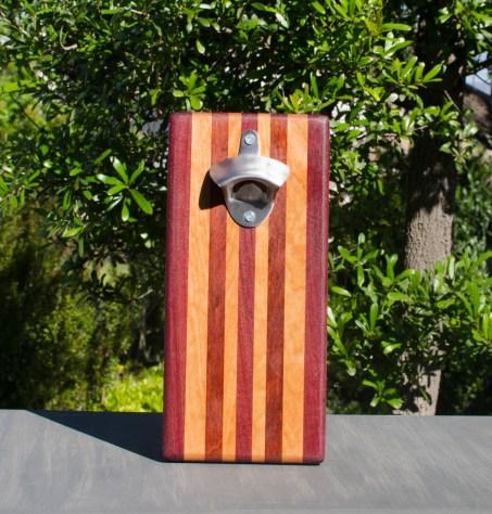 Magic Bottle Opener 17 - 908. Purpleheart, Bubinga, Bloodwood & Cherry. Single Magic.
