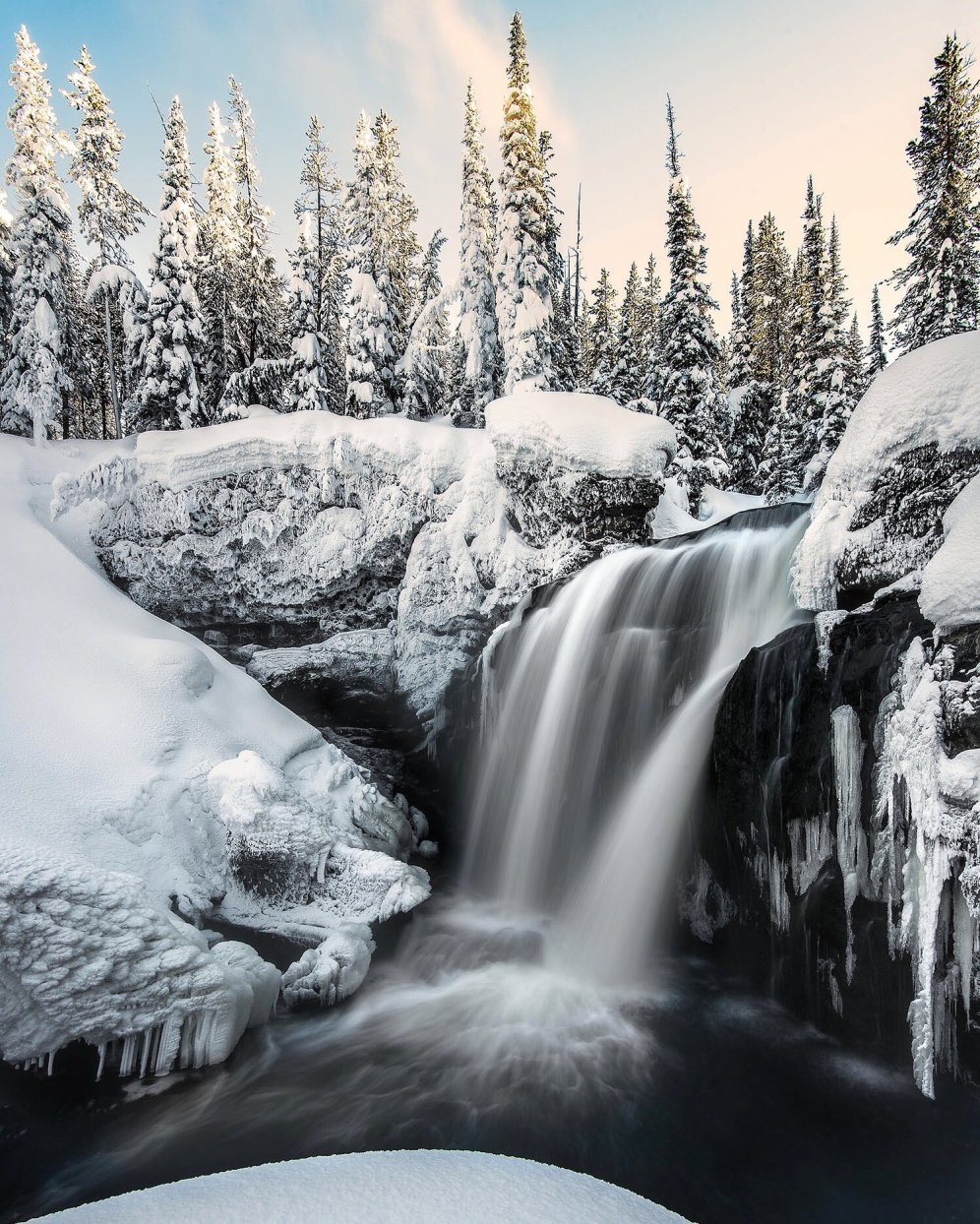 Yellowstone National Park's Moose Falls. Photo by Josh Packer. Tweeted by the US Department of the Interior, 2/21/17.