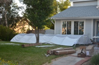 This 10x20 canopy barely fits in our front yard, between the oak tree & the window planter.