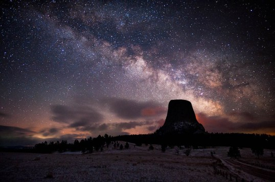 As night falls on Devils Tower National Monument, it transforms from a place of darkness into a place of wonder. Thousands of twinkling, glittering stars dot the night sky over an astounding geologic feature that protrudes out of the rolling prairie surrounding the Black Hills. Stay for nature's night show at Wyoming's Devils Tower – it's worth it! Photo by National Park Service. Posted on Tumblr by the US Department of the Interior, 4/18/17.