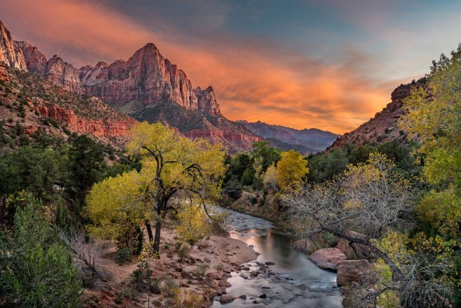 America's national parks are beyond beautiful. Sunset at Utah's Zion National Park. Photo by Shay Blechynden. Tweeted by the US Department of the Interior, 5/2/17.