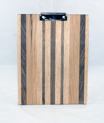 Clipboard 17 - 008. Red Oak, Black Walnut & Hickory. Letter size. Polyurethane finish.