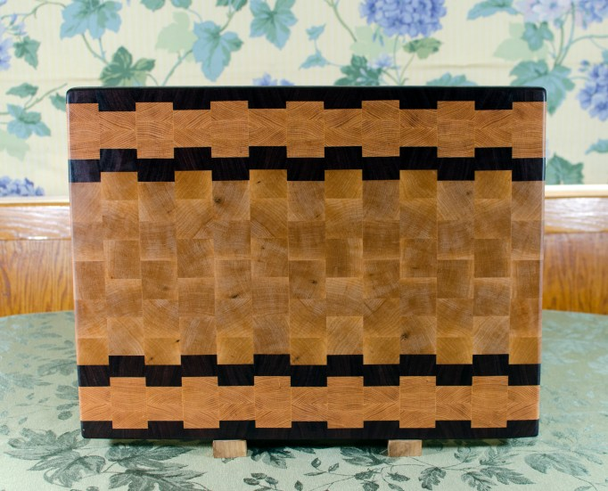 "Cutting Board 17 - 428. Jatoba, Honey Locust & Hard Maple. End Grain. 16"" x 21-1/2"" x 1-1/2""."