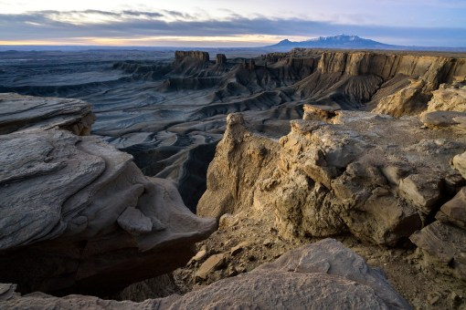 Skyline Rim, near Factory Butte in eastern Utah. Massive wrinkles in the rugged landscape give this place an otherworldly appearance, especially in the fading light of dusk. Photo courtesy of Brock Slinger. Posted on Tumblr by the US Department of the Interior, 4/14/17.