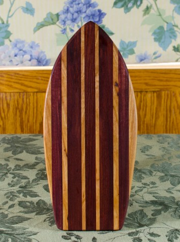 "Small Surfboard 17 - 504. Cherry, Purpleheart, Bubinga & Bloodwood. 7"" x 16"" x 3/4""."