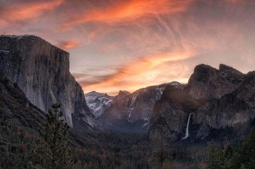 Among one of the most inspiring vistas in the world, Tunnel View provides a perfect sunrise view of Yosemite National Park in California. From here you can see El Capitan and Bridalveil Fall rising from Yosemite Valley, with Half Dome in the background. This view gets its name from its location at the east end of the Wawona Tunnel. Photo by David Laurence Sharp. Posted on Tumblr by the US Department of the Interior, 6/4/17.