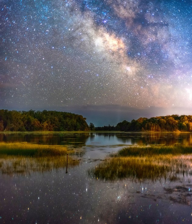 Located on the outer portion of Massachusetts's Cape, Cape Cod National Seashore's 44,600 acres encompass a rich mosaic of marine, estuarine, fresh water and terrestrial ecosystems. Here you can explore pristine sandy beach, lighthouses, cultural landscapes and wild cranberry bogs. Photo of the Milky Way rising over a salt pond by Jatin Thakkar. Posted on Tumblr by the Us Department of the Interior, 6/25/17.