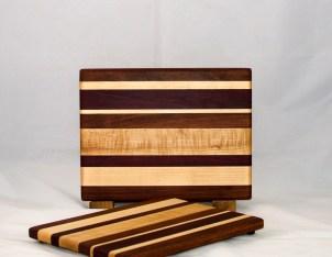 """Cheese Board 17 - 326. Jatoba, Hard Maple & Purpleheart. Chaos board. 8"""" x 11"""" x 3/4""""."""
