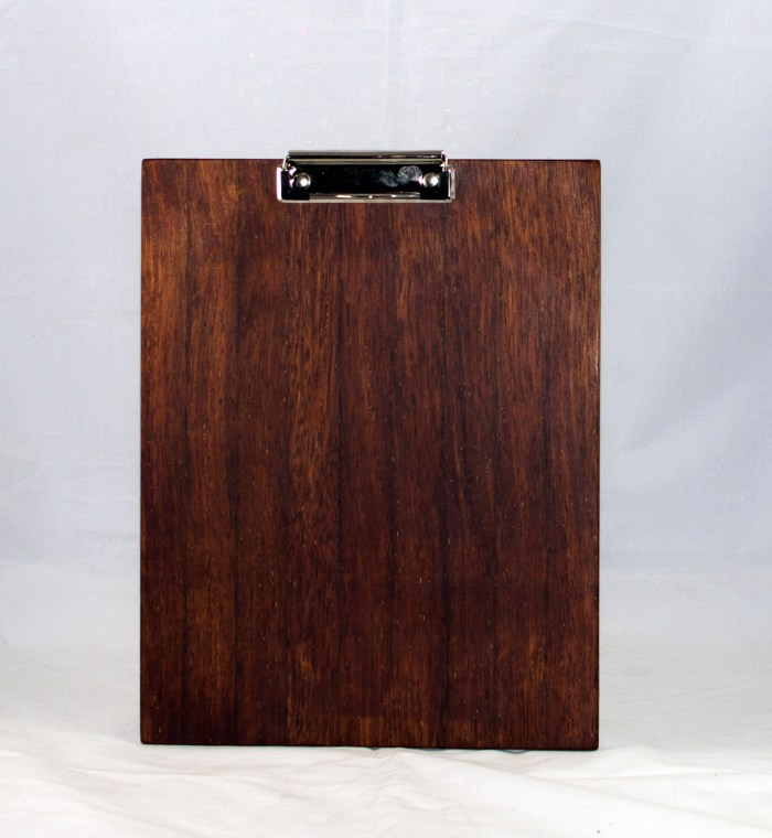 """Clipboard 17 - 012. Merbau ( the first piece I've finished with this Malaysian wood). Letter size. 1/2"""" clip."""