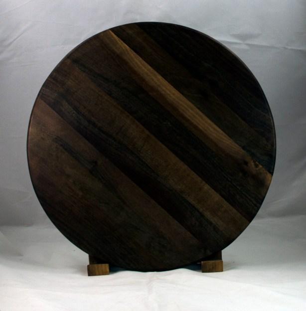 "Lazy Susan 17 - 13. Black Walnut. 17"" diameter."