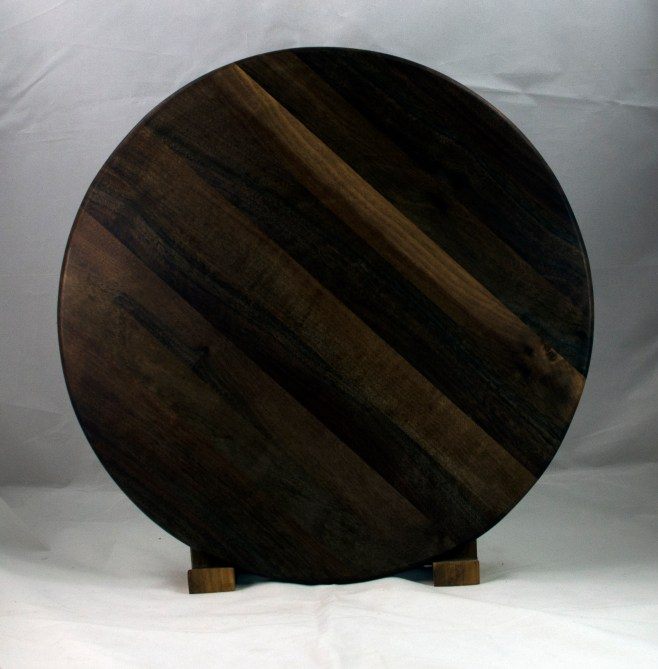 "Lazy Susan 17 - 13. Black Walnut. 17"" diameter."
