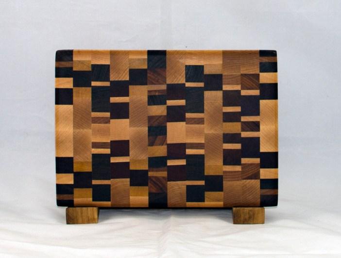 """Small Board 17 - 228. Chaos Board. End grain. 7"""" x 11"""" x 1""""."""